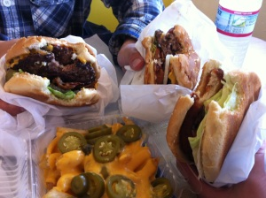 From L-R: Two Double Bacon Cheeseburgers and Chicken Burger w/ Cheese Jalapeno Fries
