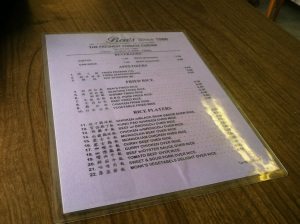 Front Side of Menu