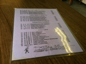 Back Side of the Menu