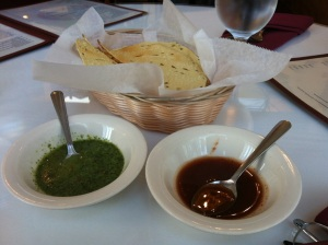 Poppadom w/ two sauces: Mint Chutney and Tamarind