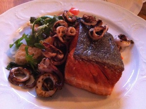 Cast Iron Roasted King Salmon, Tomato, Cucumber Panzerella
