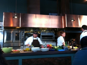 Interior Shot #2: Near center view of action in the open kitchen.
