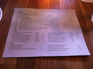 Back Side of Menu (Dish offerings) for the evening