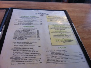 Menu 1 of 2 (The Specialty Sandwich soon to be discovered as... an Omelette Sandwich w/ Side of Fries and Pickles)