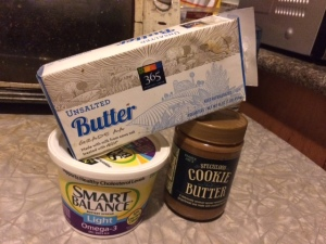 "Unsalted butter, 'Healthy Canola"" butter and Cookie Butter? (j/k technically its not a butter)"