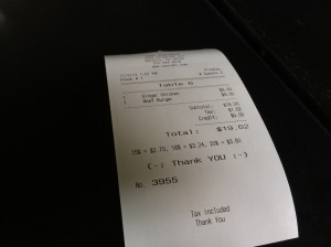Almost $20.00 for crappy fries and an imitation ramen burger? Take a note of the suggested gratuity chain...