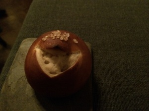Pretzel Bread with a generous amount of salt..