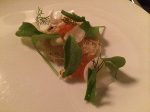 Trout Roe: Pearl, Onion, Buttermilk (not mentioned is the miniature crispy potatoes and garnished veggies)