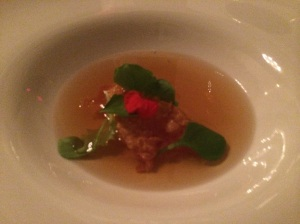 Consomme, Crispy Chicken Skin and Egg Yolk