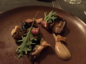 Sunchoke: Hedgehog Mushrooms, Kale and (NY Flank cuts not mentioned)