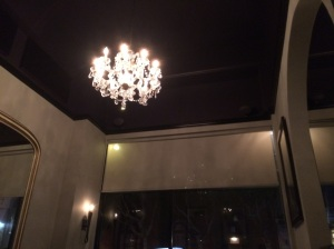 An artifact from Cafe Mozart: Their signature Chandelier