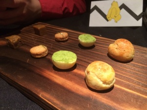 Treats (L-R): Caramelized Cookie Dough, Sesame Shortbread, Ginger Jam/Kafir Lime, and White Chocolate Truffle Mochi Macha and Very Petit Cream Puff (Choux).