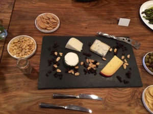 Cheese and Cracker Plate w/ Honey Glazed Almonds on the side