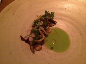 Unripe Green Tomato w/ Dill, Monterey Bay Squid w/ Flowering Watercress