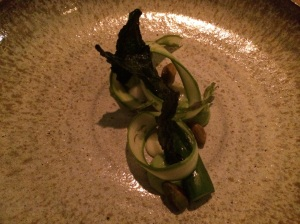 Asparagus, Whole Lemon Confit, Avocado Mousse and Pistachio