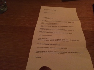 The Menu for the Evening