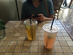Mango Green Ice Tea and Strawberry Lemonade (extra legit)