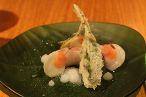 Shima Aji in Smoked (Liquid Nitrogen) w/ White Beet Soup