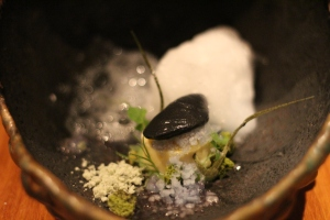 Under The (Citrus) Sea Kingdom: Open Frame Sea Shell consists of: Yuzu Curd, Green Tea Mousse, Coconut Sake Sorbet